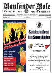 Samstag, 26. Januar ab 11.30 Uhr - Adelsheim