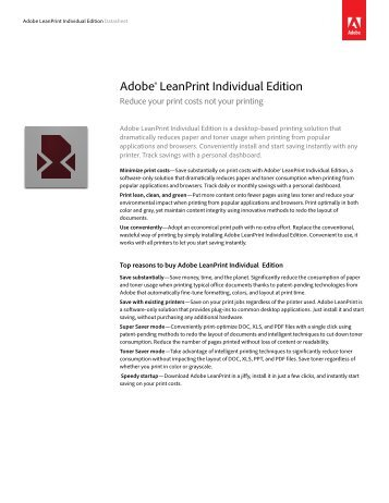 Adobe® LeanPrint Individual Edition