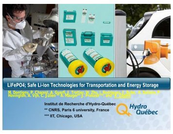 LiFePO4; Safe Li-Ion Technologies for Transportation and Energy ...