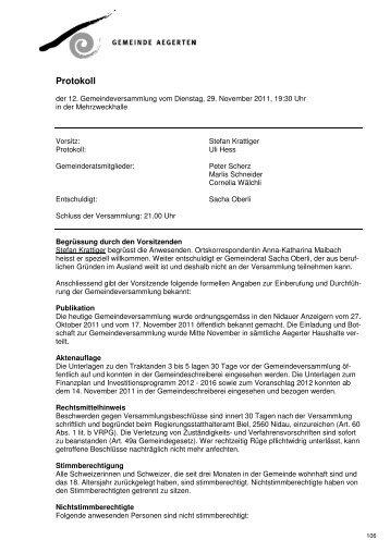 Protokoll GV_29.11.2011 - Aegerten