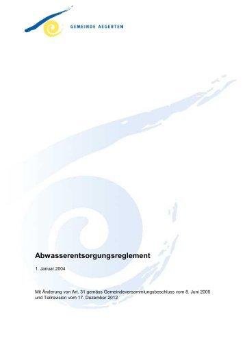 Abwasserentsorgungsreglement - Aegerten
