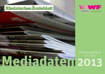 Mediadaten 2013 des WWF-Verlages für das Rheinische Ärzteblatt