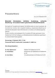 Pressekonferenz - Ärztekammer Oberösterreich