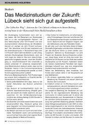 Das Medizinstudium der Zukunft - Schleswig-Holsteinisches Ärzteblatt
