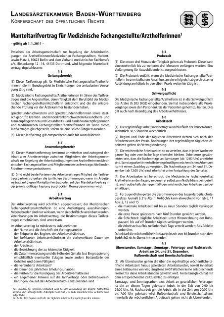 Manteltarifvertrag Für Medizinische Fachangestelltearzthelferinnen