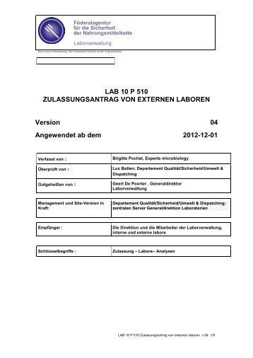 LAB 10 P 510 ZULASSUNGSANTRAG VON EXTERNEN LABOREN ...
