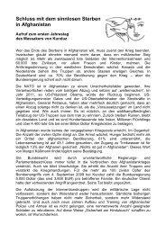 Schluss mit dem sinnlosen Sterben in Afghanistan - AG ...