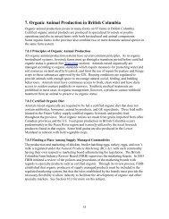 Section 7. Organic Animal Production in British Columbia: Organic ...