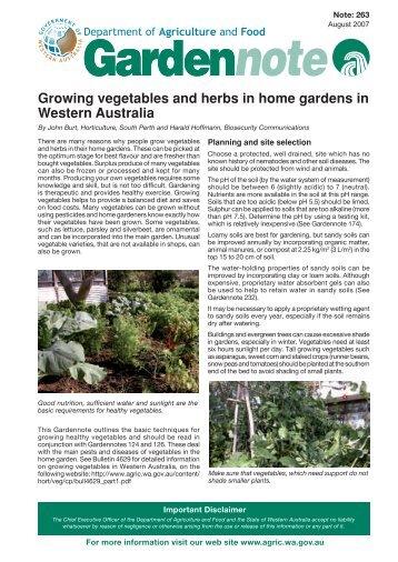 Growing vegetables and herbs in home gardens in Western Australia