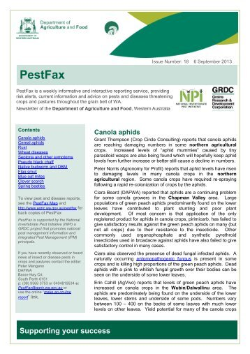 PestFax No.18 06/09/13 - Department of Agriculture and Food - wa ...