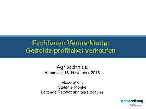 Präsentationsvorlage Agrarzeitung Untertitel - Agritechnica