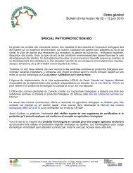 Bulletin d'information No 02 – 12 juin 2013 - Agri-Réseau