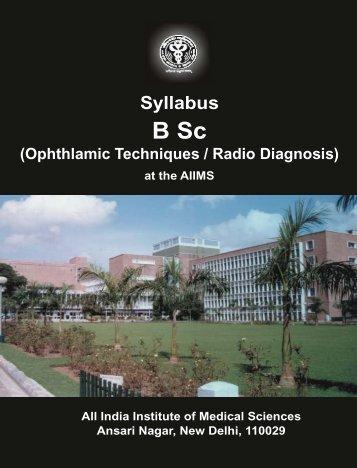 Syllabus B Sc - All India Institute of Medical Sciences