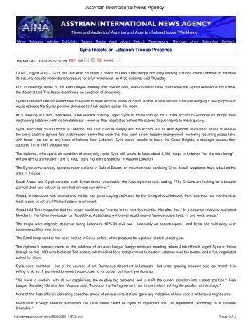 Syria Insists on Lebanon Troops Presence - Assyrian International ...