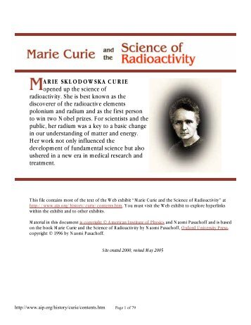 ARIE SKLODOWSKA CURIE opened up the science of radioactivity ...
