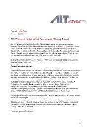 Press Release AIT-Wissenschafter erhält Econometric Theory Award