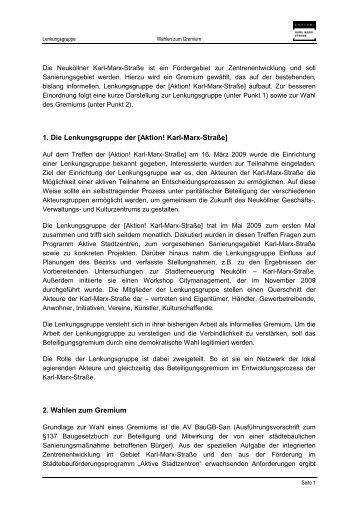 Wahl eines Gremiums der - Aktion! Karl-Marx-Straße