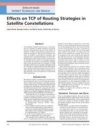Effects on TCP of Routing Strategies in Satellite Constellations