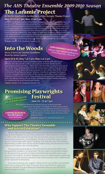 Promising Playwrights Festival The Laramie Project Into the Woods