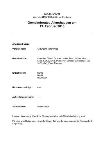3. Öffentliche Sitzung des Gemeinderates Allershausen vom 19.02 ...