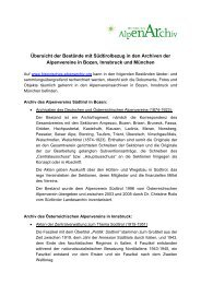 Südtirolrelevante Akten im Historischen Alpenarchiv - Alpenverein ...