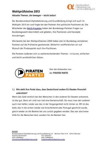 Wahlprüfsteine 2013 - Bundesverband Alphabetisierung e.V.