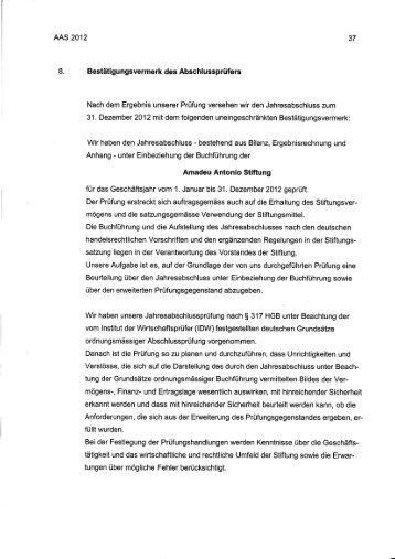 Prüfvermerk für den Jahresabschluss 2012 - Amadeu Antonio Stiftung