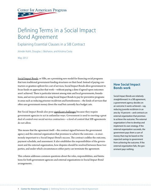 Defining Terms In A Social Impact Bond Agreement Center