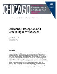 Demeanor, Deception and Credibility in Witnesses: - American Bar ...