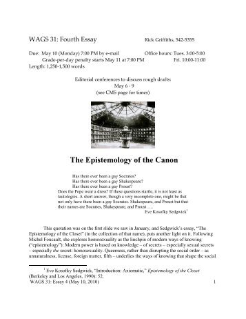 """Essay 4: """"The Epistemology of the Canon"""" (May 10, 2010)"""