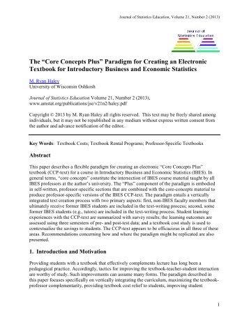 Core Concepts Plus - American Statistical Association