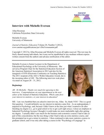 Interview with Michelle Everson - American Statistical Association