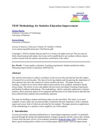 TESF Methodology for Statistics Education Improvement - American ...