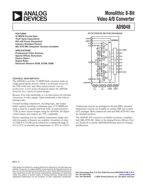 AD9048 Monolithic 8-Bit Video A/D Converter     - Analog Devices