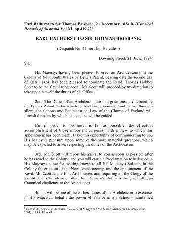 Earl Bathurst to Sir Thomas Brisbane - Anglican Church of Australia