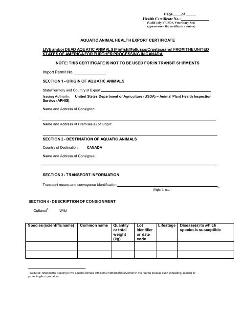Health Certificate No Aquatic Anim Al Health Export Aphis