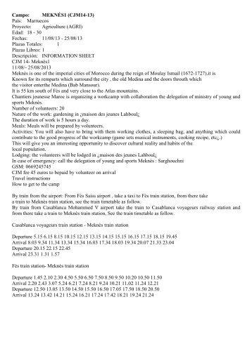Campo: MEKNÉS1 (CJM14-13) País: Marruecos Proyecto ...