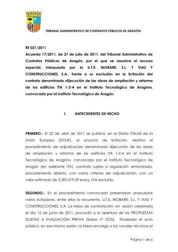 RE 021/2011 Acuerdo 17/2011, de 27 de julio de 2011, del Tribunal ...