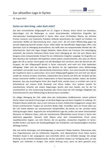 Zur aktuellen Lage in Syrien - Corporate Trust
