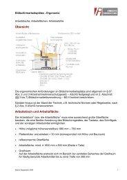 Arbeitstische, Arbeitsflächen, Arbeitsstühle - Arbeitsinspektion