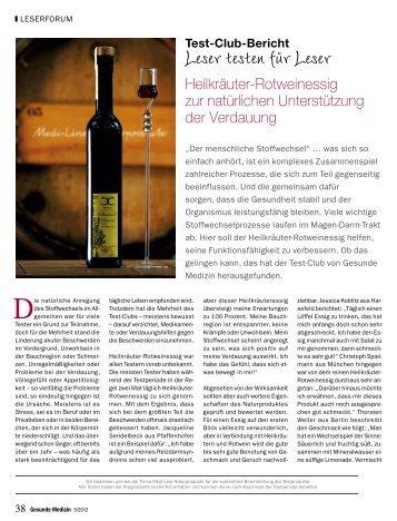 Lesermeinungen zum Heilkräuter-Rotweinessig - Arcelia