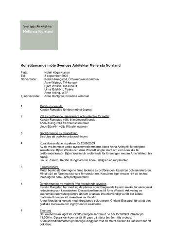 Konstituerande möte Sveriges Arkitekter Mellersta Norrland