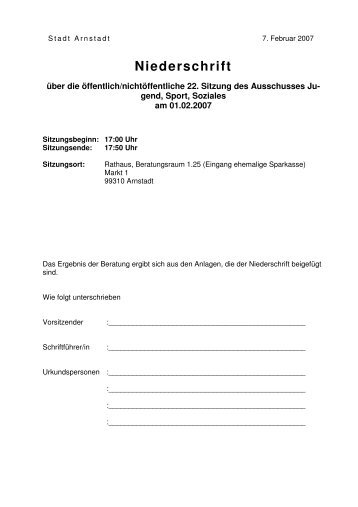 Niederschrift JSS 01.02.2007 - Stadt Arnstadt
