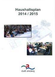 Haushaltssatzung, Statistik, Gesamtergebnislan ... - Arnsberg