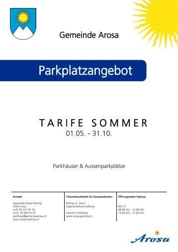 Tarifplan Parkplatzangebot Sommer 2013 - Arosa