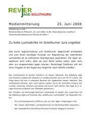 Medienmitteilung Revierjagd Solothurn - Artenschutz Schweiz