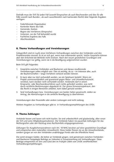 Merkblatt SVS zum Verbandsbeschwerderecht - Artenschutz Schweiz