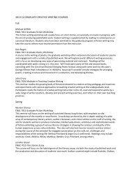 2013-14 GRADUATE CREATIVE WRITING COURSES Fall Spring
