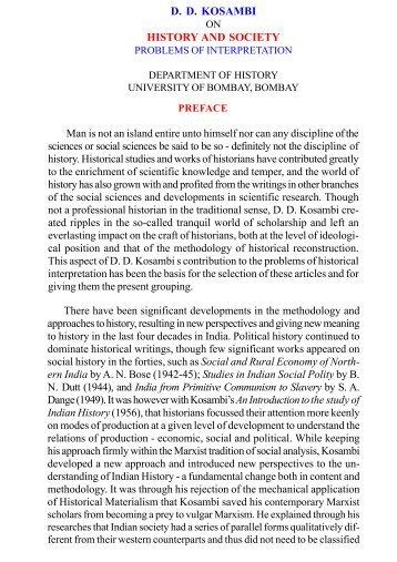 D. D. KOSAMBI HISTORY AND SOCIETY - Arvind Gupta