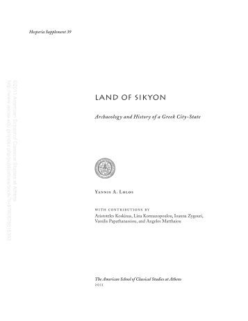 land of sikyon - The American School of Classical Studies at Athens